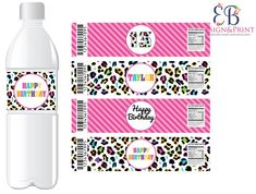 Cheetah Birthday, Cheetah Party, Animal Party, Party Animals, Leopard Animal, Party Supplies, Rainbow, Bottle Labels, Printed