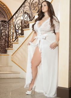Sexy Lingerie Long Robe Women Plus Glam Night Lace Fur Sheer Mesh Ivory Sexy Lingerie, Bridal Lingerie, Plus Size Lingerie, Lingerie Underwear, Women Lingerie, Plus Size Robes, Lingerie Collection, Sexy Outfits, Plus Size Outfits