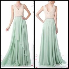 A-Line Full Length Bridesmaid Evening Dress with Pleated, Sleeveless Bodice and V Neckline, Open V Back featuring Invisible Zipper Closure, Sparkling Jewel Embellished Waistline, Solid Color Flowing Long Skirt with Overlay Detail.