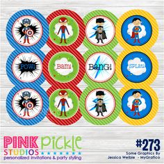 SUPERHERO Personalized Cupcake Toppers, Party Circles and Stickers Printable DIY pdf. $8.00, via Etsy.