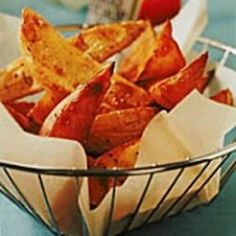 Sweet potatoes are cholesterol and fat free! Apart from a little olive oil, these wedges are too!