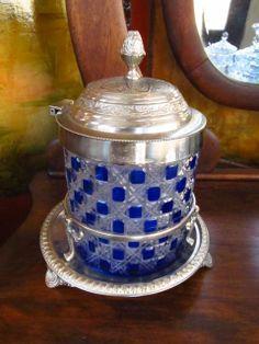 Dorflinger Hob & Lace Cobalt Blue American Brilliant Crystal Biscuit Jar Cranberry Glass, Antique Glassware, Glass Company, Barrels, Cut Glass, Cobalt Blue, Biscuit, Jars, Old Things