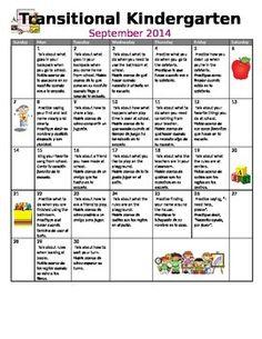 Editable Preschool, TK / Pre K, Transitional Kindergarten Monthly Homework  Calendars In English