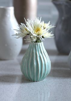 Pottery Vase Striped Seafoam Ceramic Vase by FringeandFettle Organic Ceramics, Flower Vases, Flowers, Ceramics Ideas, Pretty Patterns, Pottery Vase, Ceramic Vase, Sea Foam, My Favorite Color
