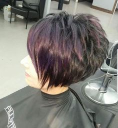 Hair Beauty - -Cute cut with maybe a touch longer at the front and more auburn with plum over wash shorthairbobpixie Bobs For Thin Hair, Short Hair With Layers, Short Hair Cuts For Women, Short Hair Styles, Funky Short Hair, Curly Bob Hairstyles, Cool Hairstyles, Older Women Hairstyles, Hairstyle Ideas