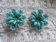10% Discount Floral Coro Clip Earrings Turquoise White Rhinestones Vintage Jewelry Ladies Present by TripVintageWorld on Etsy