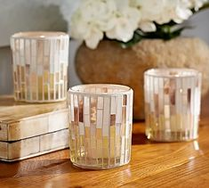 Mosaic Votive Cups, Set of 3 #potterybarn