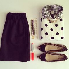 Gingham, dots, leopard, red lips.
