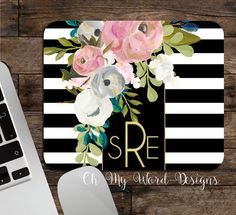Monogram Mouse Pad-Stripe Monogrammed Mouse by OhMyWordDesigns