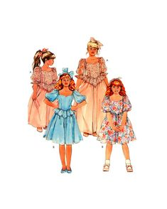 80s McCall's 4252 Flower Girl, Bridesmaid, Party Puffy Dress with Peplum & Skirt  Length Variations, Uncut, F/Folded, Sewing Pattern Size 6 Puffy Dresses, Sewing Patterns, Peplum, Bridesmaid, Gowns, Weddings, Knitting, Flower, Crochet