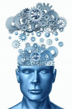 Lead symbol isolated on white represented by a human head with gears and cogs raining down from a symbolic server representing cloud computing. Stock Photo