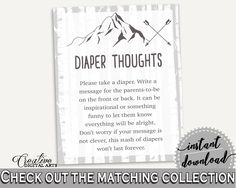 Diaper Thoughts Baby Shower Diaper Thoughts Adventure Mountain Baby Shower Diaper Thoughts Gray White Baby Shower Adventure Mountain S67CJ - Digital Product #babyshowergames #babyshowerdecorations