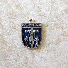 Oberammergau Geraman Enamel Travel Shield Silver Plate Bracelet Charm Vintage by Charmcrazey on Etsy