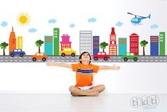 Mini City Cars Track Wall Decal for Baby Boys by TikitiWallDecals, $129.00