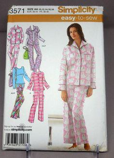 91f0181dab Simplicity 3571 Easy Sew Pajamas   Loungewear Sleepwear Pajama Bottoms