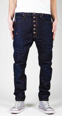 Raw denim Jeans for men / Urban punk men pants / dark by Pandowear, $130.00