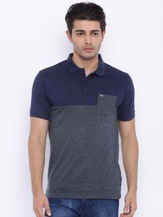 Buy LOCOMOTIVE Men Navy Colourblocked Polo T Shirt - Tshirts for Men | Myntra
