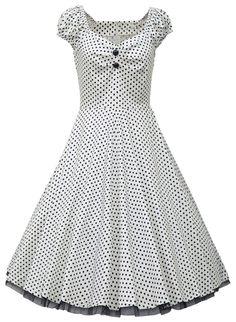 White Polka Dot Vintage Dress with Lace Trim