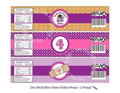 Printable DOC MCSTUFFINS Customized Water Bottle Labels - 3 Wraps. $6.00, via Etsy PINKPEAPAPERIE