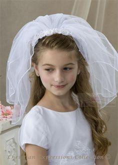 communion veils   first holy communion headband veils v821