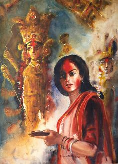 .  विजय दशमी की हार्दिक शुभः कामनाएं  'Durga Puja' Painting by Ananta Mandal,  Indian, Born 1983