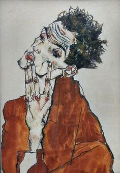 Self-Portrait Egon Schiele. FYI he was homies with Gustav Klimt and died tragically at 28 from the Spanish Flu, 3 days after his pregnant wife also passed. Gustav Klimt, Life Drawing, Painting & Drawing, Watercolor Drawing, Art Plastique, Oeuvre D'art, Figurative Art, Art History, Art Photography