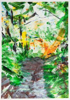 Somni d`un camí boscòs Acrylic on paper 50x70 Original work made by: Xavi Queralt