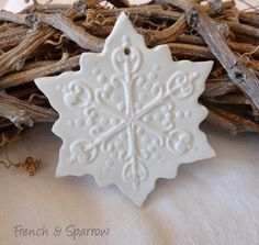 Elegant Snowflake Clay Tags - Set of Two - Ornament Christmas Decoration