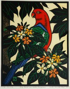 Leslie van der Sluys - 'King Parrot and Native Frangipani,' 1988 Australian Wildflowers, Australian Native Flowers, Linocut Prints, Art Prints, Bird Applique, Art And Hobby, Mural Art, Wall Mural, My Art Studio