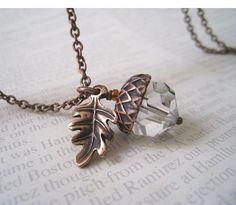 Acorn and Oak Leaf Necklace by lunashineshine on Etsy, $21.00