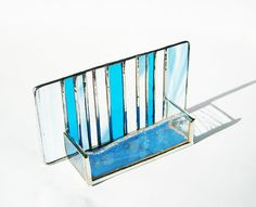 97 best stained glass card holders images on pinterest business stained glass modern business card holder turquoise by galeazglass 3500 colourmoves