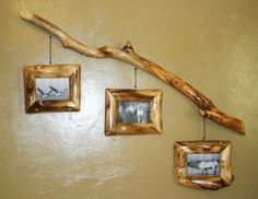 A great way to display your photos in your log cabin! from Cabin Fever Gifts #LogFurniture