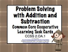 Addition and Subtraction Problem Solving Task Cards 2.OA.1 $