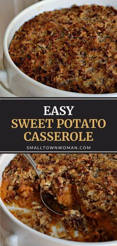 Try something new on Thanksgiving! This easy recipe for Sweet Potato Casserole makes about 12 servings and will become an instant family favorite. Covered with a scrumptious crunchy brown sugar pecan topping, this scrumptious side dish is perfect for the holiday! Sweet Potato Pecan, Sweet Potato Casserole, Mashed Sweet Potatoes, Easy Casserole Recipes, Potato Recipes, Great Recipes, Fall Recipes, Holiday Recipes, Favorite Recipes