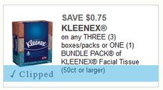 75¢ off any Three boxes or One Bundle Pack of KLEENEX Facial Tissue