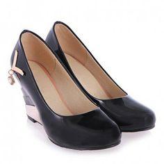 Pretty Metal and Rhinestone Design Wedge Shoes For Women, BLACK