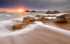 sunset, sea, Rocks, landscape