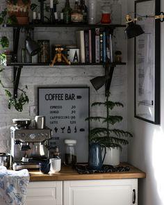 Bright kitchen with white bricks in Scandinavian style