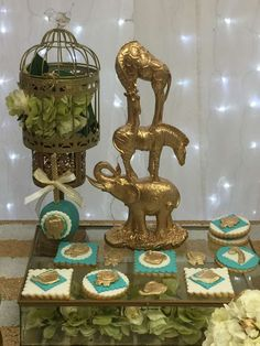 Gold safari baby shower party! See more party planning ideas at CatchMyParty.com!