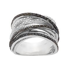 1/2 Carat T.W. Black and White Diamond Sterling Silver Crisscross Ring, Women's, Size: