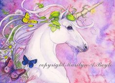 PRINT - FANTASY- UNICORN; art, spring, flowers, butterflies, nature, pink and mauve color by OriginalSandMore on Etsy https://www.etsy.com/listing/220871415/print-fantasy-unicorn-art-spring-flowers