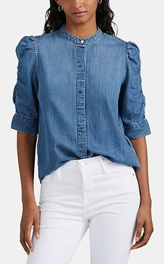Tie Front Blouse, Crop Blouse, Chambray, Embellished Bodysuit, Pique Shirt, Metallic Blouses, Bleached Denim, Blouse Outfit, Look Chic