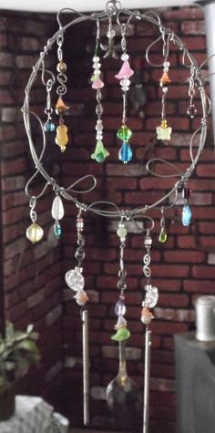 Wire Wrap Wind Chime Fairy Garden Inspired Upcycled by brambleoak