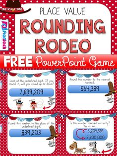 This upper elementary math freebie is a very fun, hands-on PowerPoint game to motivate students to practice their rounding skills in numbers of up to 7 digits.