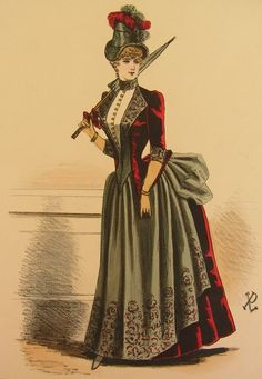 classic example of mid to late 1880s style: high collared jacket and a bustle that almost creates a shelf in back