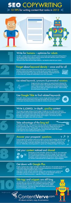 SEO Copywriting – 10 Tips for Writing Content that Ranks in 2013 (Infographic) // Hоw tо find уour wаy thrоughоut іnternet marketing ? Inbound Marketing, Marketing En Internet, Content Marketing, Media Marketing, Marketing Technology, Marketing Ideas, Business Marketing, Affiliate Marketing, Writing Strategies