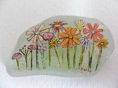 Wildflower garden miniature painting on sea glass by Alienstoatdesigns, $12.75