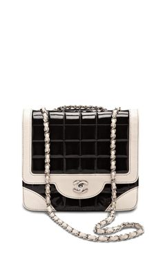 Vintage Chanel Black Patent With Cream Trim Bag by What Goes Around Comes Around - Moda Operandi