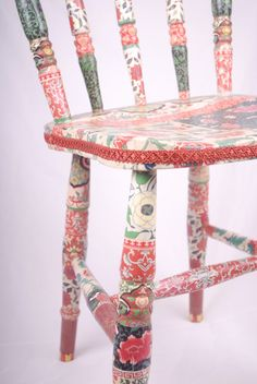 wooden upcycled chair decoupage Betsy by kitschemporium on Etsy, by missingmary Decoupage Furniture, Upcycled Furniture, Cool Furniture, Painted Furniture, Wood Crafts, Diy And Crafts, Painted Chairs, Furniture Makeover, Decoration
