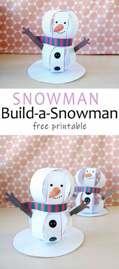 Make this Standing Paper Snowman Craft with your kids. It has an adorable carrot nose and a friendly smile. A great craft for Christmas and the winter season. Winter Activities For Kids, Winter Crafts For Kids, Kids Crafts, Crafts To Make, Art For Kids, Snowman Crafts, Christmas Crafts, Homemade Playdough, Printable Crafts